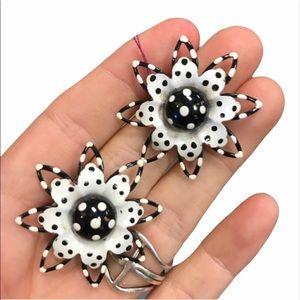 Vintage Polka Dot Metal Flower Earrings